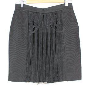 Viktor & Rolf Runway Black Fringe Skirt Linen Silk
